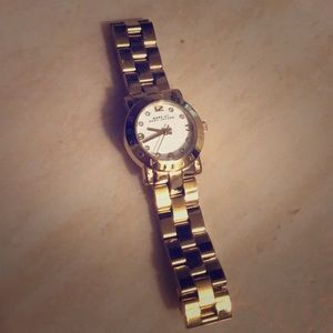 Petite gold and white marc by marc jacobs watch!